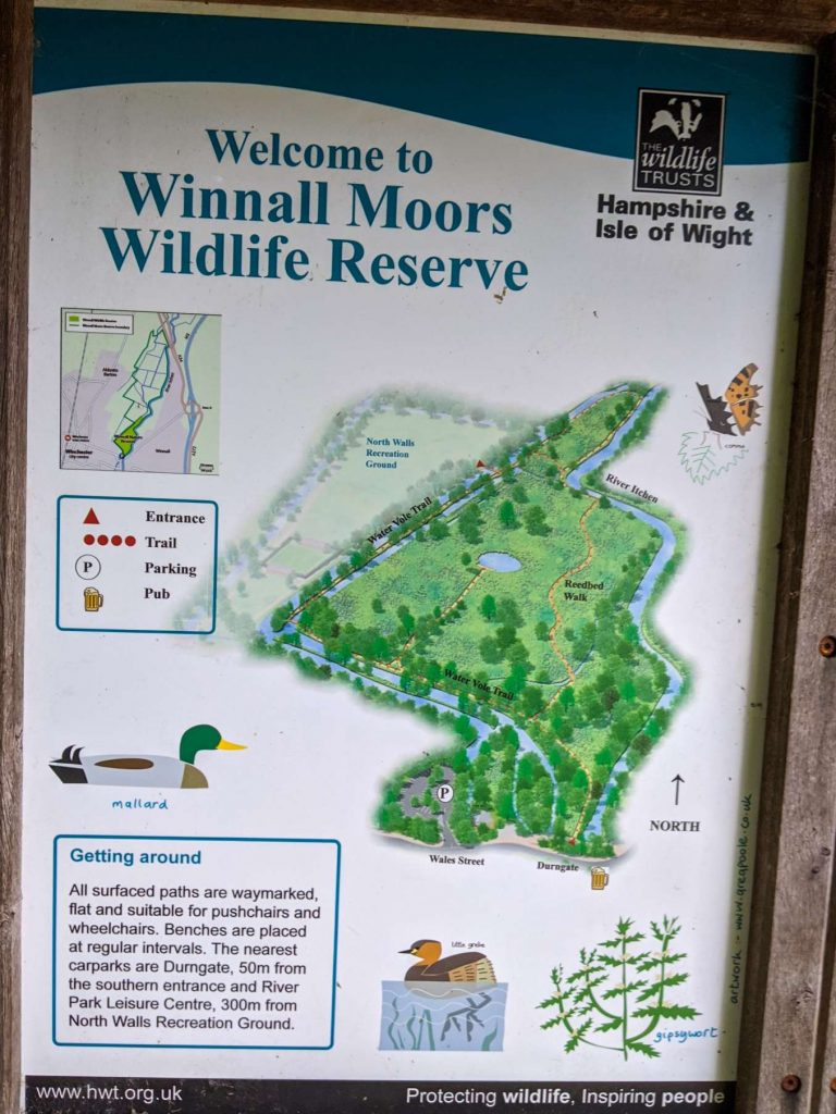 Info sign at the entrance of Winnall Moors (2)