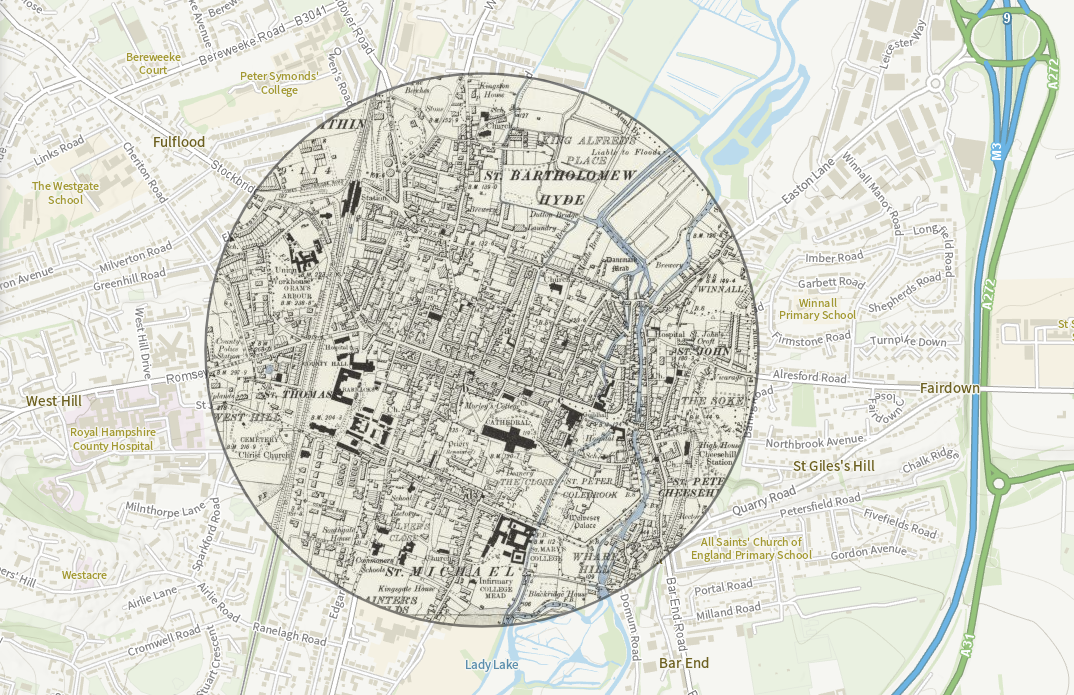winchester old and new map