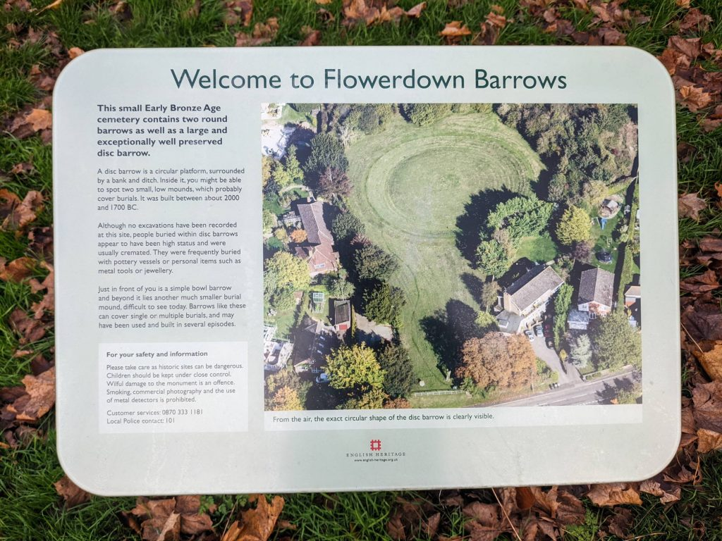 Information sign at Flowerdown Barrows which was built between about 2000 and 1700 BC