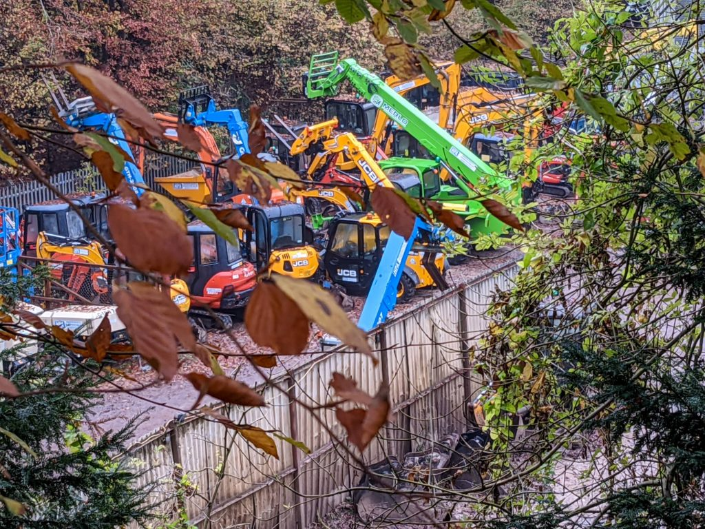 Colourful machinery in the in the industrial estate off Wellhouse Lane (November 2020)