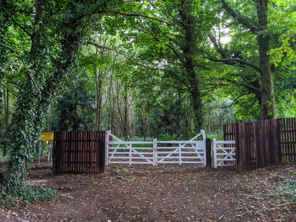 wooden gates leading to forested area on the way to Littleton Stud