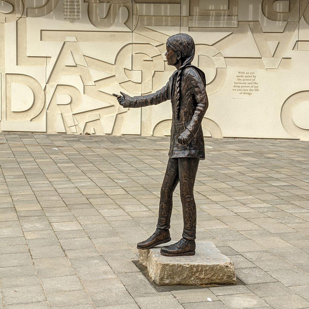 Greta Thunberg Statue at Winchester University