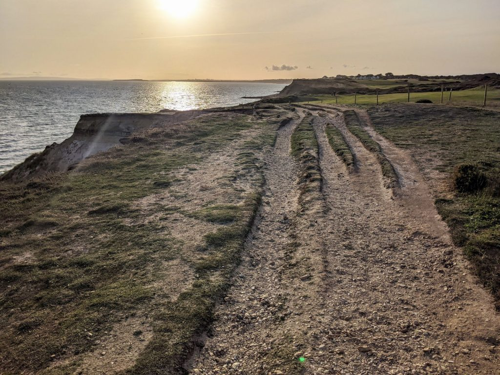 Cliff top path looking back at Barton on Sea