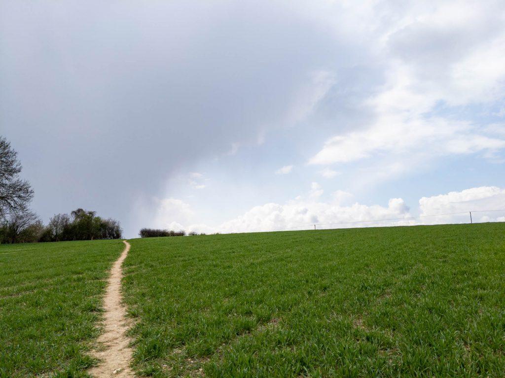Rain behind Parsonage Farm